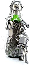 WINE BODIES ZB960 lady Hair Dresser Metal Wine Bottle Holder, Charcoal
