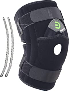 DISUPPO Knee Brace with Double Side Spring Stabilizers, Open Patella Adjustable Knee Support Stabilizer for Arthritis, Joint Pain, Meniscus, Injury Recovery, Tendonitis, Women Men