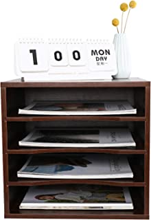 PAG Office Supplies Desk Organizer Wood File Mail Sorter with 3 Adjustable Drawer Boards (Brown)