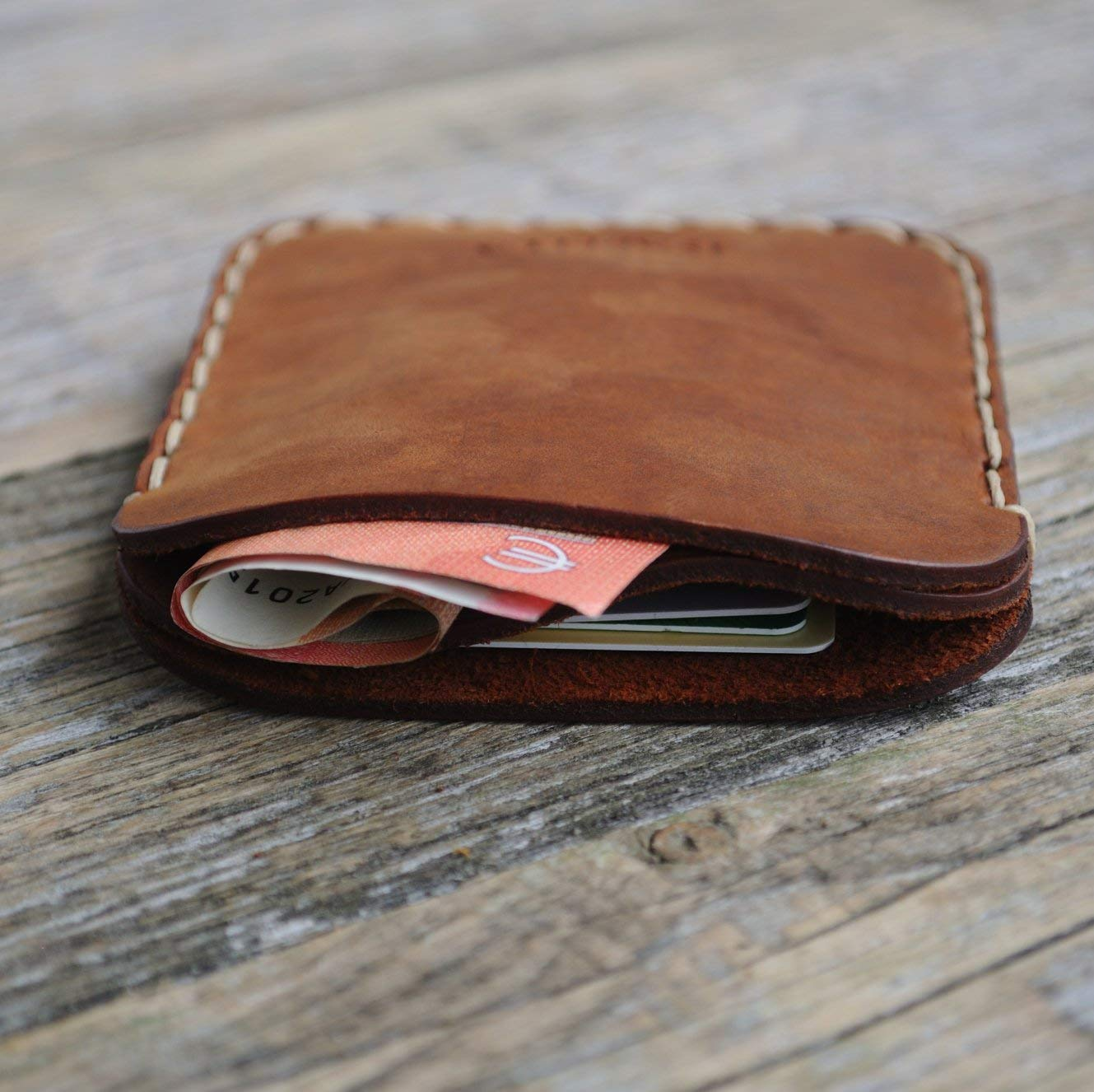 Columbus Mall PERSONALIZED Genuine Brown Leather Credit Card ID or Wallet. Case Cash