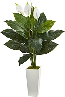 """Nearly Natural Artificial 51"""" Spathiphyllum Plant in White Tower Planter, Green"""
