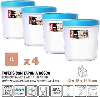 Tatay1160900 Lote de 4 Tapers 1 L. con Rosca Azul Turquesa