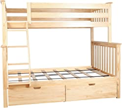 Max & Lily Solid Wood Twin over Full Bunk Bed with Under Bed Storage Drawers, Natural