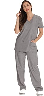 Just Love Stretch Solid Scrub Sets for Women 6828-NEW-HGRY-2X Heather Grey
