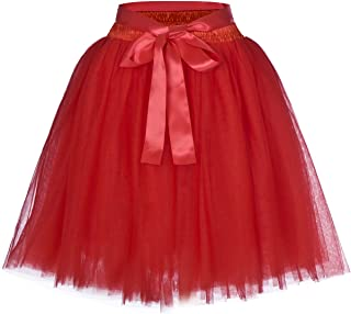 Women's High Waist Adult A-Line Tulle Skirt for Bridesmaid/Wedding Flower Girl Gown Prom Party