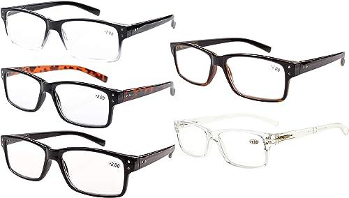 Eyekepper Spring Hinges Vintage Reading Glasses Men Readers(One for each color,+2.00)