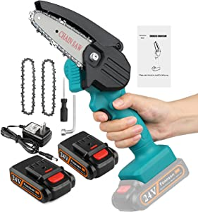 Foonsen Mini Chainsaw, 4-Inch Cordless Chainsaw, Portable Handheld Chain Saw with Rechargeable Battery for Wood Cutting, Tree Branches Shears Pruning (Green)