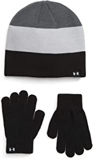 Under Armour Boy`s Beanie & Glove Combo 2 Piece Set (Black(1345414-001)/Grey, One Size)