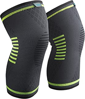 Knee Brace 2 Pack, Compression Sleeve FDA Approved, Support for Arthritis, ACL, Running, Biking, Basketball Sports, Joint Pain Relief, Meniscus Tear, Faster Injury Recovery, 1 Pair