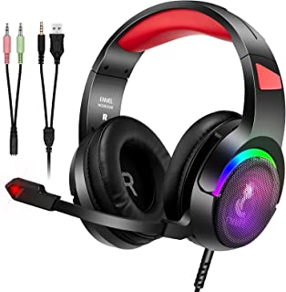Audifonos gamer para PS5 PS4 Xbox One Switch, ENVEL Auriculares para juegos con micrófono Estéreo Reducción de ruido envolvente,de volumen and luz LED Control,para PC, tableta, teléfonos inteligentes