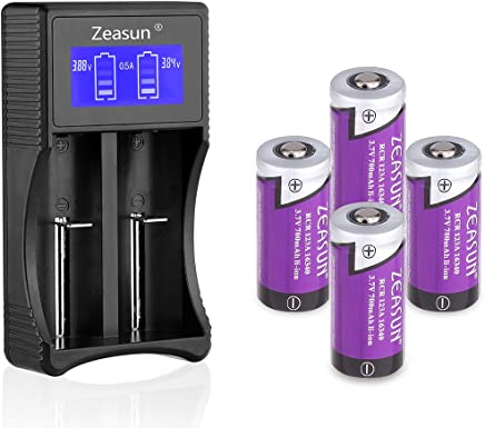 16340/CR123A Rechargeable Batteries for Arlo Security Cameras(VMC3030/VMK3200/VMS3330/3430/3530),With LCD Smart Charger Zeasun Rechargeable Cr123a Batteries,3.7V,700mAh,4 Pack