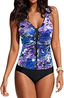Upopby Women's Retro One Piece Swimsuits Printed V Neck Slimming Bathing Suits Tummy Control Swimwear Plus Size