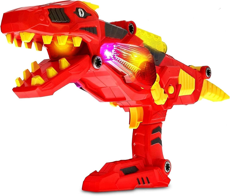 Dinosaurio Pistola 3 en 1 Transformando el espacio Battle Take Dright Pistola de juguete con luces y sonido Tyrannosaurus Rex Blaster Gun Super Charger T-Rex Cool Niños Dinosaurio Juguete DIRIGIÓ Shoo