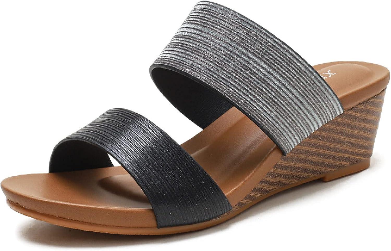 Women's Super popular specialty store Slide Sandals with Comfort Double Wedge Ultra-Cheap Deals Pumps Strap Heel