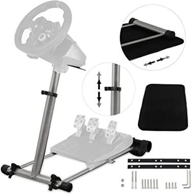 Happybuy Gaming Steering Wheel Stand 360 Degree Stepless Steering Wheel Stand Adjustable Wheel Stand Shifter Mount Stand fit for Logitech G29/G920/G25/G27,Wheel Pedals Not Included