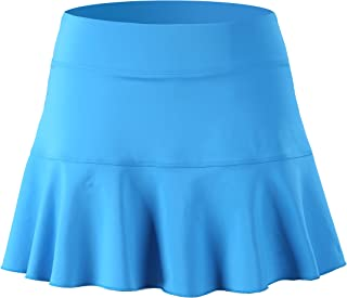 32e-SANERYI Women's Pleated Elastic Quick-Drying Tennis Skirt with Shorts Running Skort