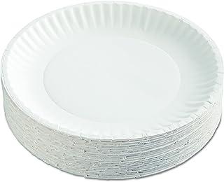 "AJM Packaging Corporation PP9GRAWH Paper Plates, 9"" Diameter, White, 12 Packs of 100 (Case of 1200)"