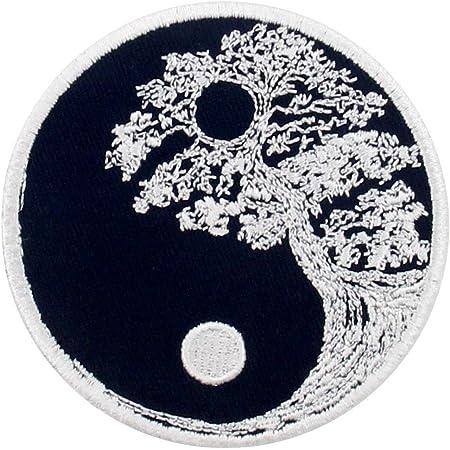 Toppa ricamata da applicare con ferro da stiro o cucitura, tema: Albero buddista di Zen yin yang
