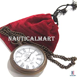 NAUTICALMART Bronze Roman Numerals Mechanical Men Pocket Watch Open Face with Chain