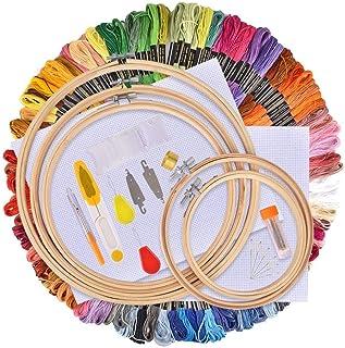 Hisome Stickerei Starter Kit, Kreuzstich Tool Kit Einschließlich 5 Stück Bambus-Hoops, 100 Farbfäden, 12 von 18-Zoll 14 Count Classic Reserve Aida und Nadeln Set …
