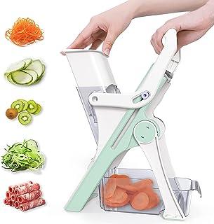 Gelrova En Sécurité Mandoline de Cuisine,Coupe-légumes Multifonction, 5 Modes trancheuse pour légumes, Lame en acier inoxy...