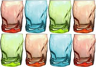 Bormioli Rocco - Trinkgläser | farbig | 8-teiliges Set | 300ml | grün, türkis, rot, orange | Glas | 11 x 7,5 x 7,5 cm | Außergewöhnliche Gläser - geknitterte Design
