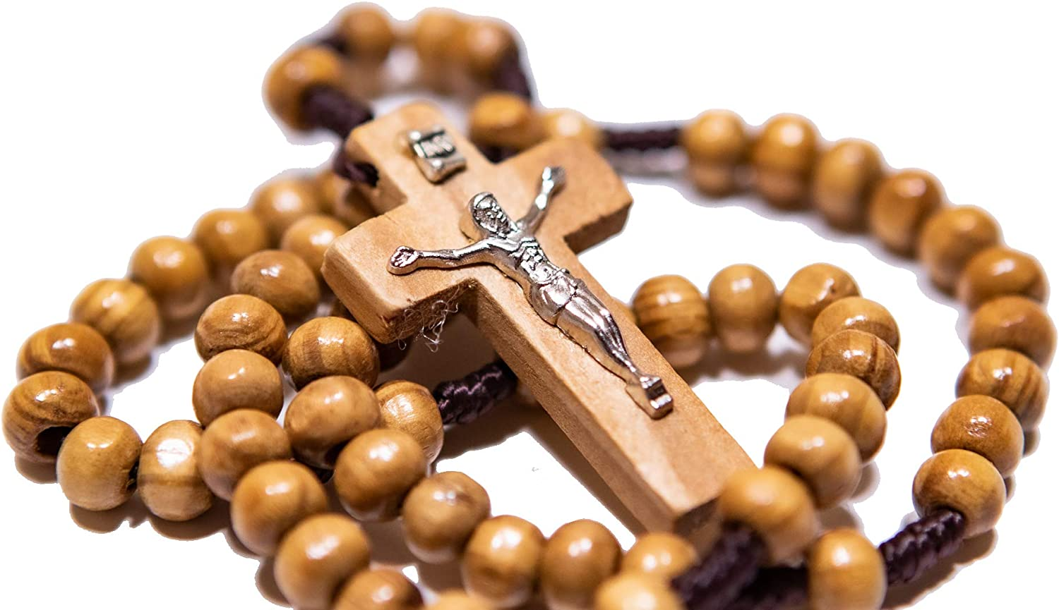 Mens Dark Wood Corded Rosary Beads Cord Rosaries with Holy Spirit Crucifix Holy Spirit Rosaries For Men