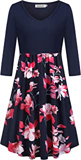 Women's Casual V-Neck 3/4 Sleeve Floral Swing Midi Dresses with Pockets