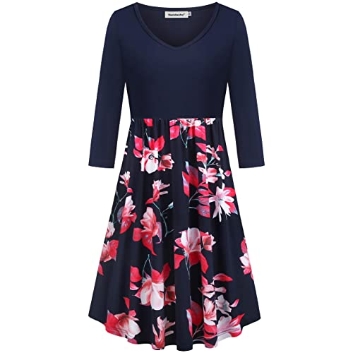 1780358567c Nandashe Women s Casual V-neck 3 4 Sleeve Floral Swing Midi Dresses with  Pockets