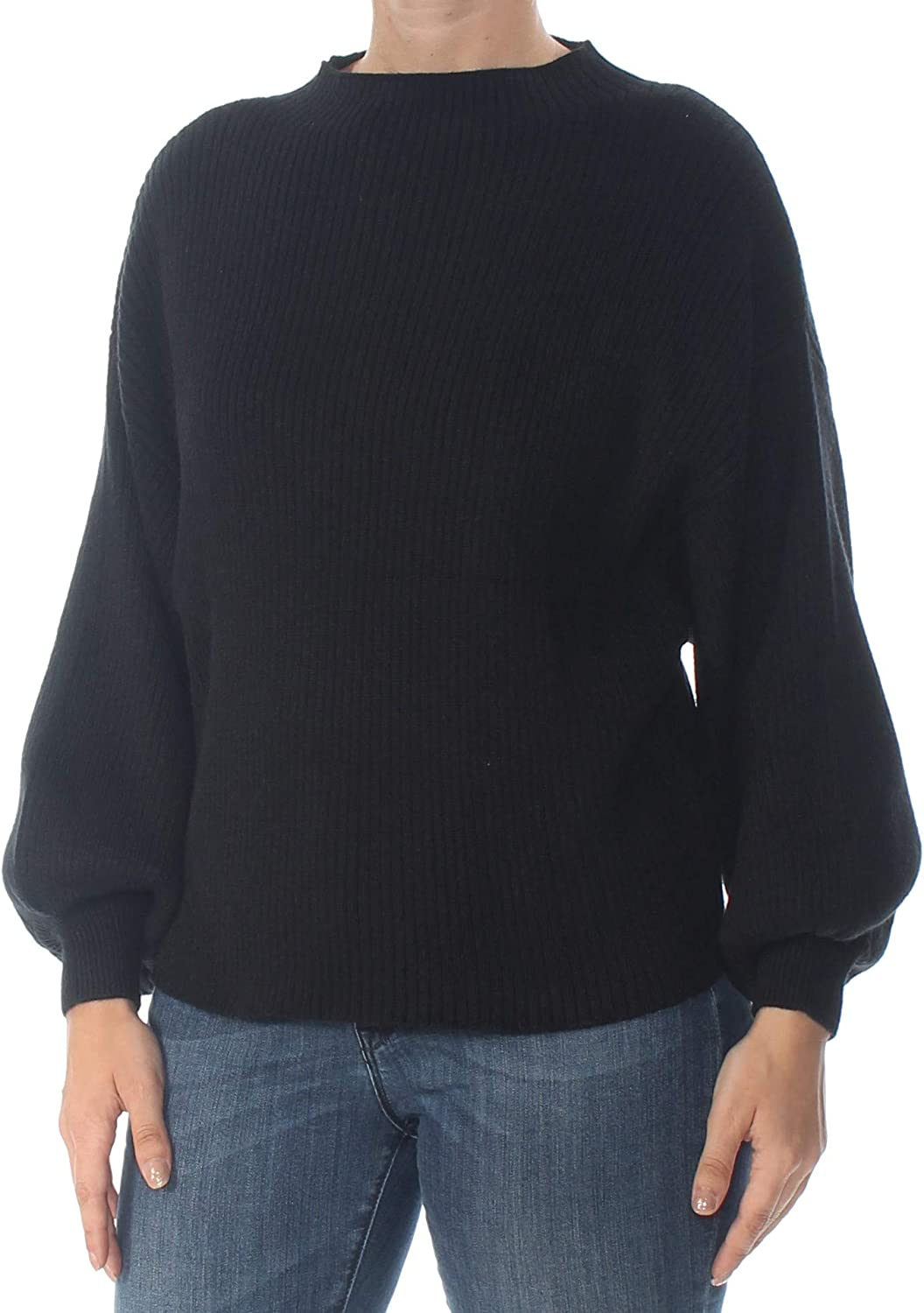 Line & Dot Womens Alder Puff Sleeve Ribbed Pullover Sweater