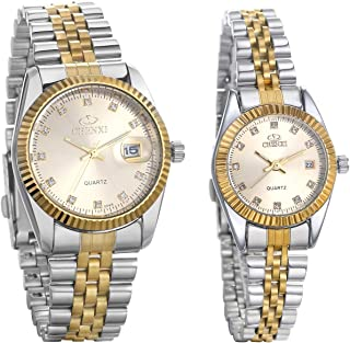 JewelryWe Luxury Couple Watches Gold-Silver Tone Stainless Steel Quartz Calendar Wristwatch Rhinestone His and Her Watch Set, for Valentine's Day