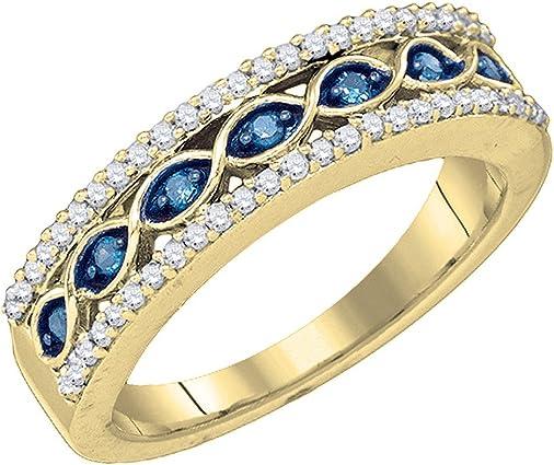 anillo de oro amarillo con diamantes azules y blancos