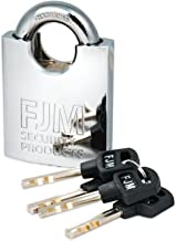 FJM Security SPRS60-KD Heavy Duty Shrouded Padlock with Triple Chrome Plating, Keyed Different