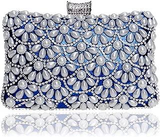 Pillow Type Ladies Fashion Clutch Bag, Ladies Banquet Dress Evening Dress Clutch, Faux Pearl Plus Rhinestone Ladies Elegant Messenger Bag (20 * 6 * 12Cm),Blue