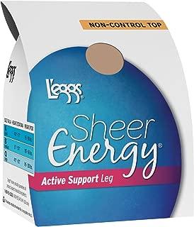 Leggs Womens Sheer Energy Active Support Regular, Reinforced Toe Pantyhose 4-Pac
