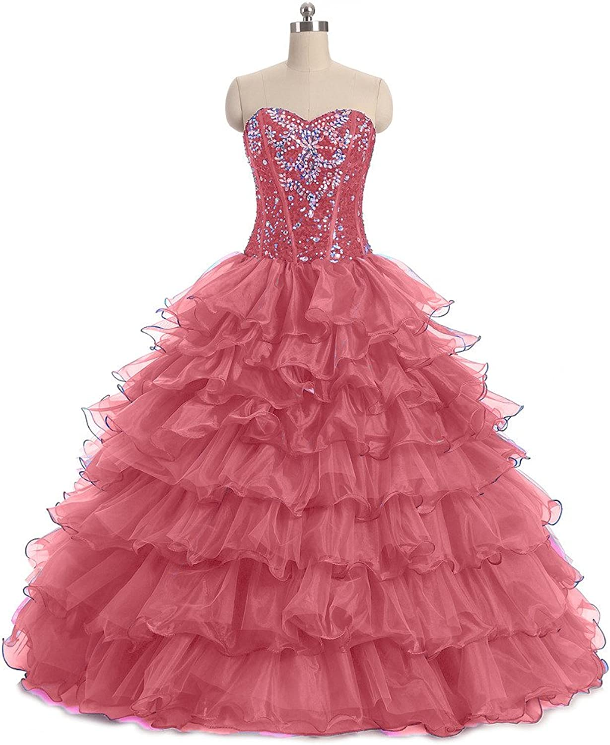Diandiai Women's Ball Gown Quinceanera Dresses Crystal Ruffles Prom Gown
