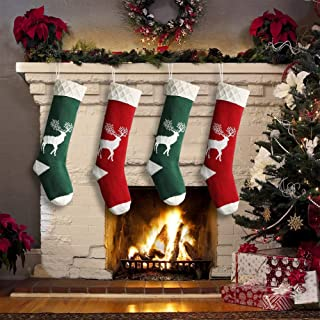 Yostyle Christmas Stockings,Big Size 4Pack 18-Inch Extra Long Hand-Knitted Red/Green Reindeer Snowflakes Xmas Character for Family Holiday Season Decor