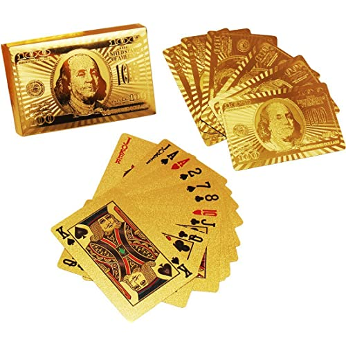 billion BAG Gold Plated Playing Cards for Magic, Poker, Teen Patti, Night Out Fun, Time Pass, Build Numerical Knowledge, Develop Brain Skills (Golden)