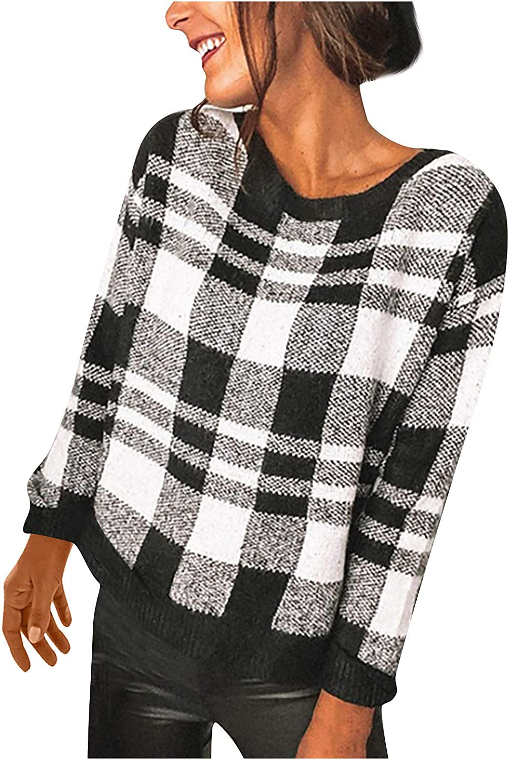 Women Classic Plaid Pullovers Autumn Warm Long Sleeve T-Shirts Casual Daily Crewneck Fitted Tee Blouse