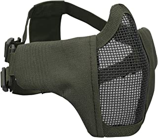 IDOGEAR Airsoft Masks,Adjustable Airsoft Half Face Mask Steel Mesh,Military Style Tactical Lower Face Mask for Hunting,Paintball,Shooting