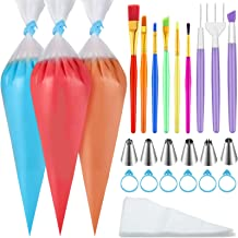 123 Pieces Cake Decorating Tools 100 Pieces Piping Bags 6 Pieces Cake Decorating Tips 6 Pieces Cookie Brushes 2 Pieces Cak...