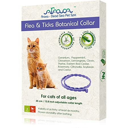 Arava Flea & Tick Prevention Collar - for Cats & Kittens - Length-14'' - 11 Natural Active Ingredients - Safe for Babies & Pets - Safely Repels Pests - Enhanced Control & Defense - 6 Months Protection