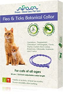 Arava Flea & Tick Prevention Collar - for Cats & Kittens - Length-14'' - 11 Natural Active Ingredients - Safe for Babies &...
