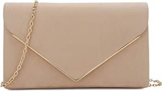 Faux Suede Clutch Bag Elegant Metal Binding Evening Purse...