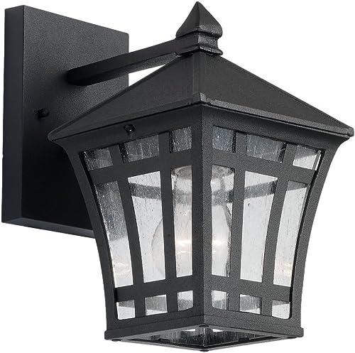 wholesale Sea Gull Lighting lowest 88131-12 Herrington Outdoor Wall Lantern Outside Fixture, One popular - Light, Black online