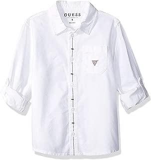 GUESS Boys' Long Sleeve Logo Classic Button Down
