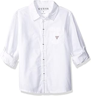 GUESS Boys' Long Sleeve Logo Classic Button Down