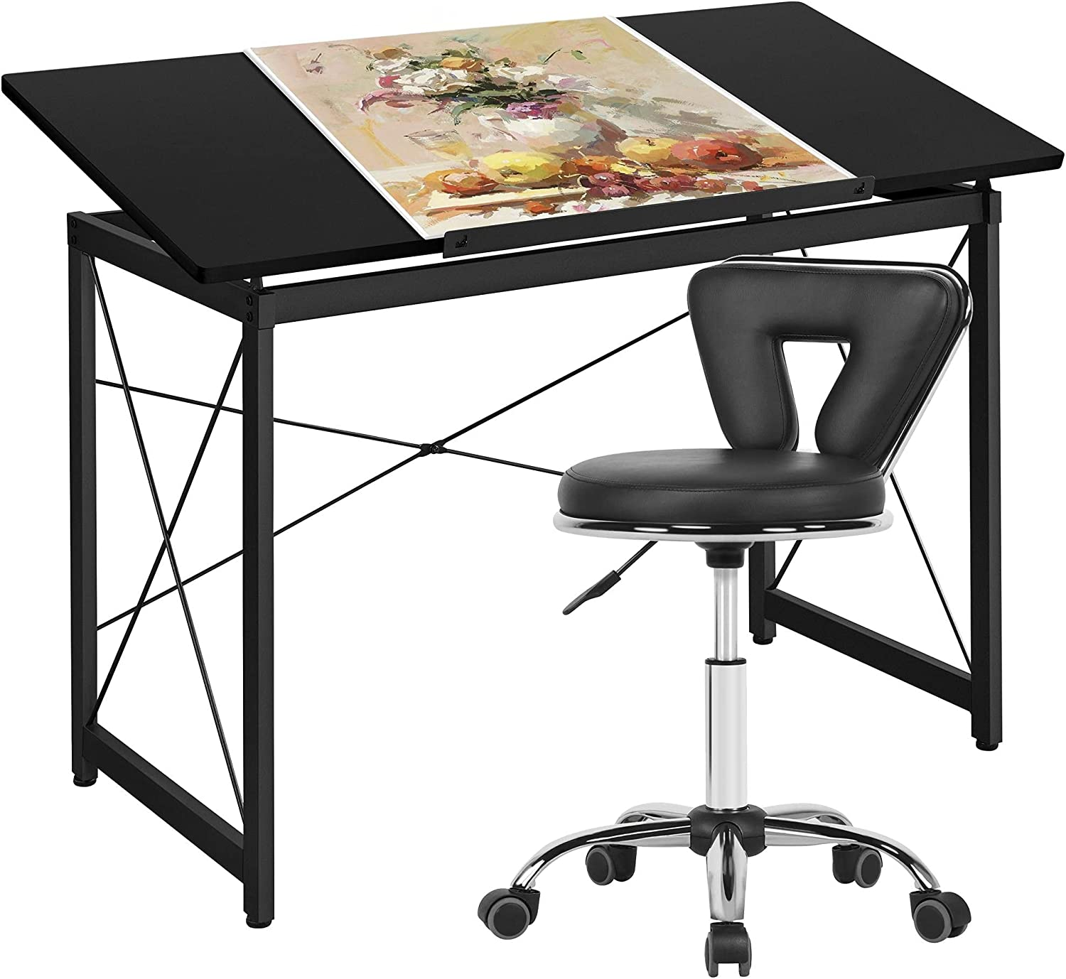 Yaheetech Drafting Table Art Desk Tabletop Faux Tilting At the price of surprise Leat Ranking TOP2 w