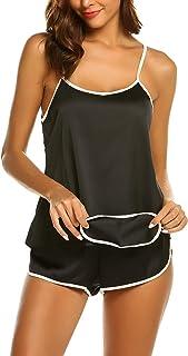 ملابس نوم مثيرة للنساء من Ekouaer ملابس داخلية من الساتان بيجامة كامي شورت النوم S-XXL