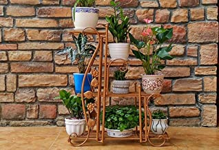 JUAN Bonsai Frame, European Wrought Iron Flower Stand Balcony Floor Type Plant Display Stand (Color : Gold, Size : 42.5 * 68.5cm)